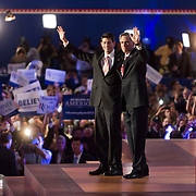 MITT ROMNEY  and PAUL RYAN wave to the audience during day four of the RNC at the Tampa Bay Times Forum in Tampa Thurs. Aug. 31, 2012. Florida Annual Report Photography, Florida Commercial Photography, Corporate Event Photography Republican Party, GOP