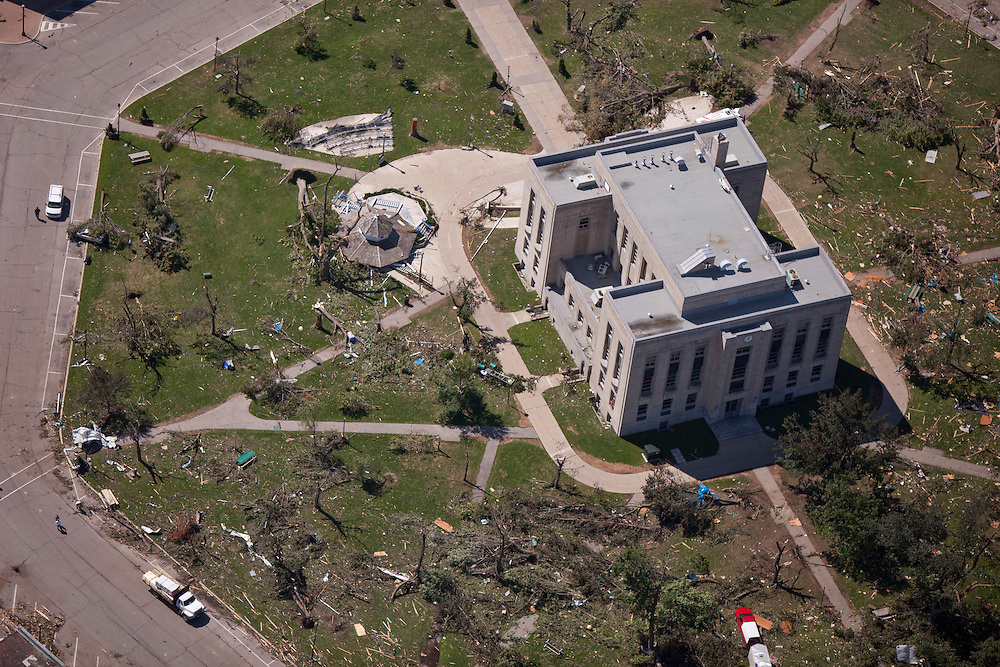 The court house in downtown Goderich, Ontario sits in the midst of a ruined town square, Monday, August 22, 2011, after a tornado ripped through the town Sunday killing one person.<br /> THE CANADIAN PRESS/ Geoff Robins