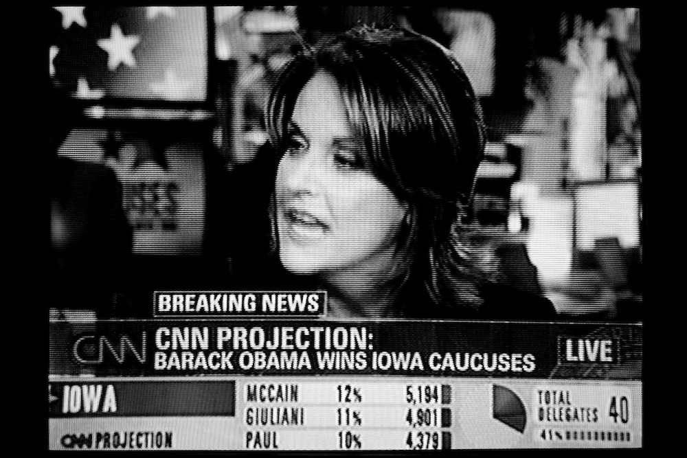 A television shows results from the Iowa Caucuses in Hooksett, N.H., on Tuesday, Jan. 3, 2008.