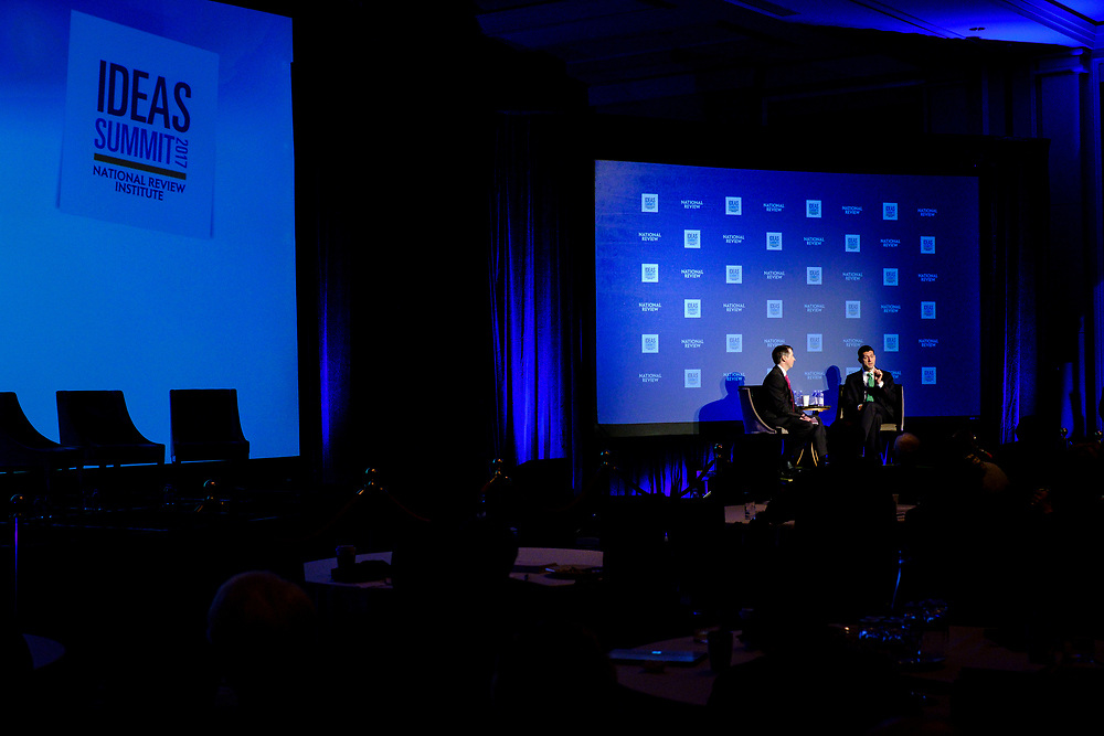Rich Lowry, editor of National Review, interviews Speaker of the House Paul Ryan (R-WI)at the 2017 National Review Ideas Summit at the Mandarin Oriental Hotel in Washington, D.C. on May 17, 2017.