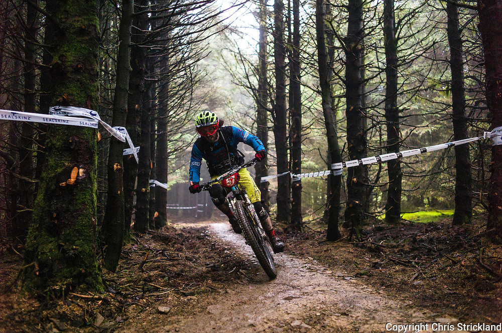 Glentress, Peebles, Scotland, UK. 31st May 2015. Joshua Lewis in action at The Enduro World Series Round 3 taking place on the iconic 7Stanes trails during Tweedlove Festival. Mountain bikers come up against eight stages across two days, with an intense 2,695 metres of climbing over 93km. As well as the physicality of the liaisons, the stages themselves are technical, catching many off guard.