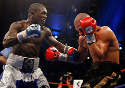 September 29, 2007; Atlantic City, NJ, USA; Andre Berto (blue/white trunks) and David Estrada (black trunks) trade punches during their bout at Boardwalk Hall in Atlantic City, New Jersey.