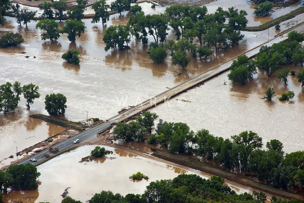 Flooding along South Platte River in Weld County, Colorado near Greeley. Hwy 60