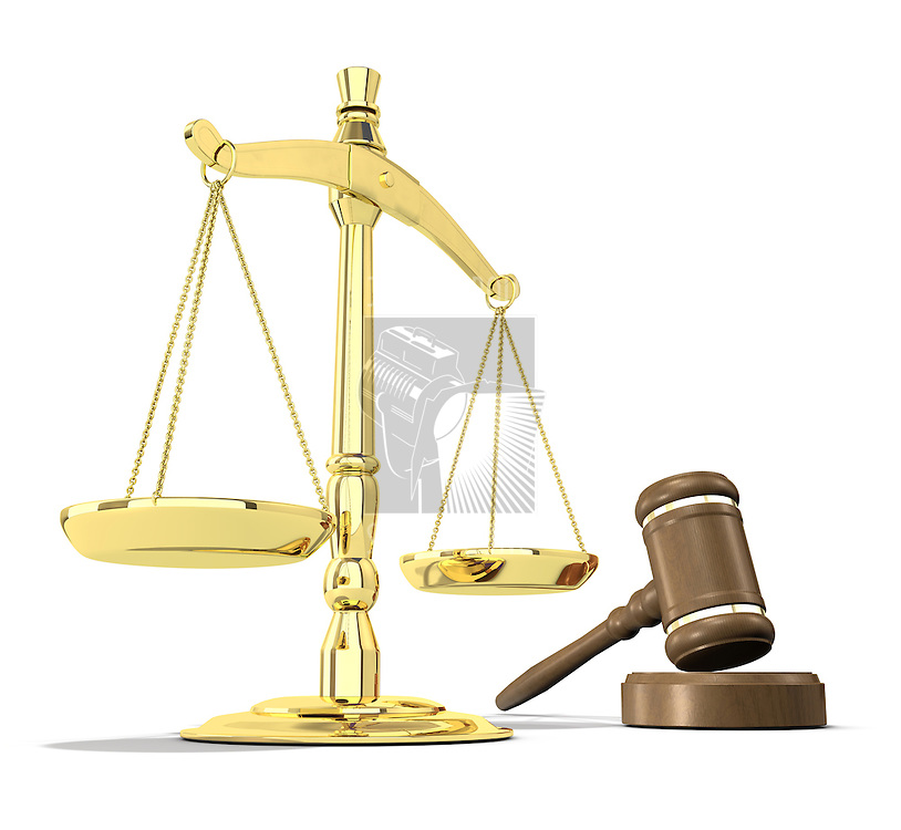 Scales of justice and gavel on white background that allows for copyspace.