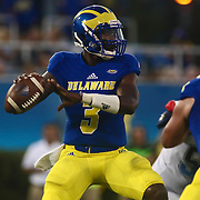 Delaware Quarterback JOE WALKER (3) attempts to pass the ball during a week one game between the Delaware Blue Hens and the Delaware State Hornets, Thursday, Sept. 01, 2016 at Tubby Raymond Field at Delaware Stadium in Newark, DE.