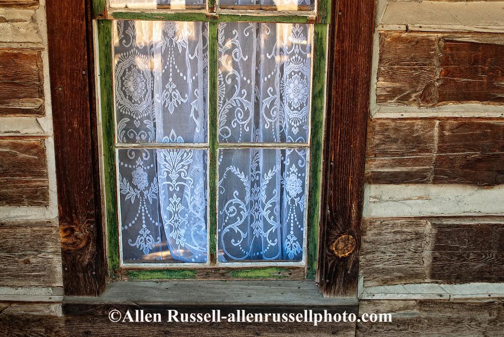 Nevada City, Montana, restored mining town, hotel window,  crochet curtains