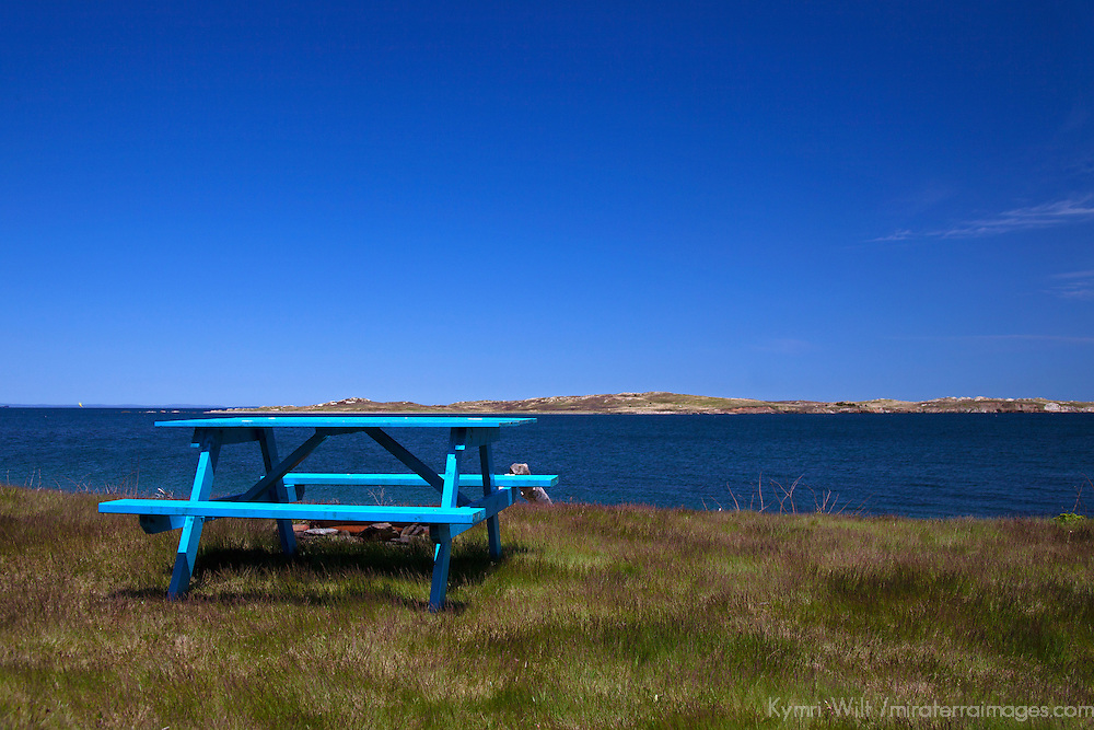 North America, Canada, Nova Scotia, Guysborough County. Picnic table on Eastern Shore of Nova Scotia.