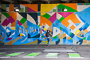Artist Justus Roe continues work on his largest mural to date on Kedzie Avenue under the Kennedy Expressway in Chicago.
