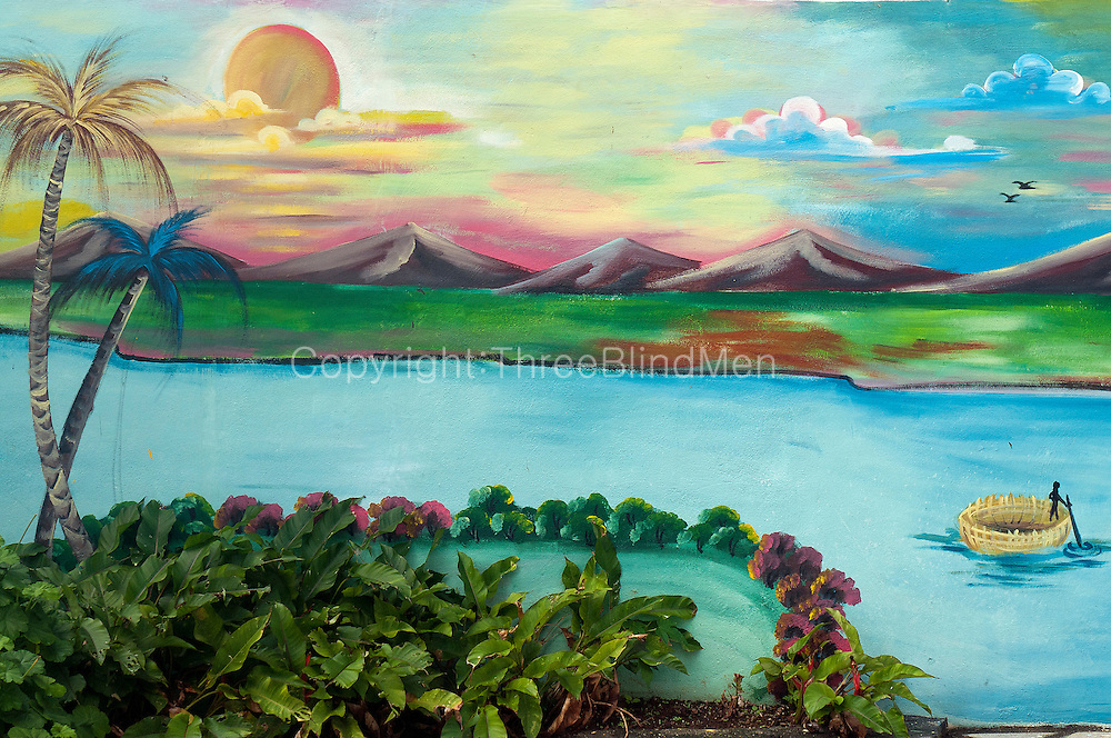 Mauritius Landscape Painted On The Boundary Wall Of A Hindu Temple Threeblindmen Photography