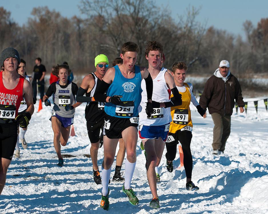 Matthew Sjogren, Jason Rae, Brenda and Celestino, NXN Northwest boys championship race, November 15, 2014 at Eagle Island State Park, Eagle, Idaho.