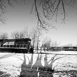 Large tree shadows guide the eye towards two trains meeting in the small town of Templeton, IN on the Kankakee, Beaverville & Southern.