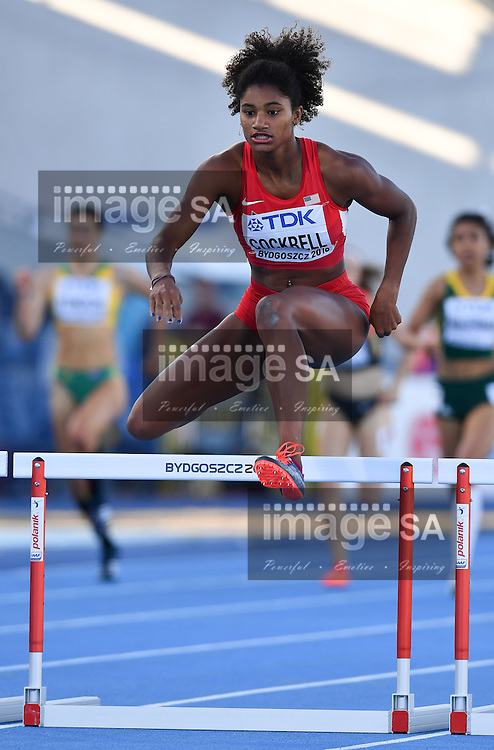 BYDGOSZCZ, POLAND - JULY 21: Anna Cockrell of the USA in the semi final of the women's 400m hurdles during the evening session on day 3 of the IAAF World Junior Championships at Zawisza Stadium on July 21, 2016 in Bydgoszcz, Poland. (Photo by Roger Sedres/Gallo Images)