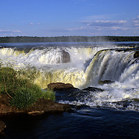 South America, Argentina, Iguacu Falls. A view from the top of the falls at Iguacu in Argentina.
