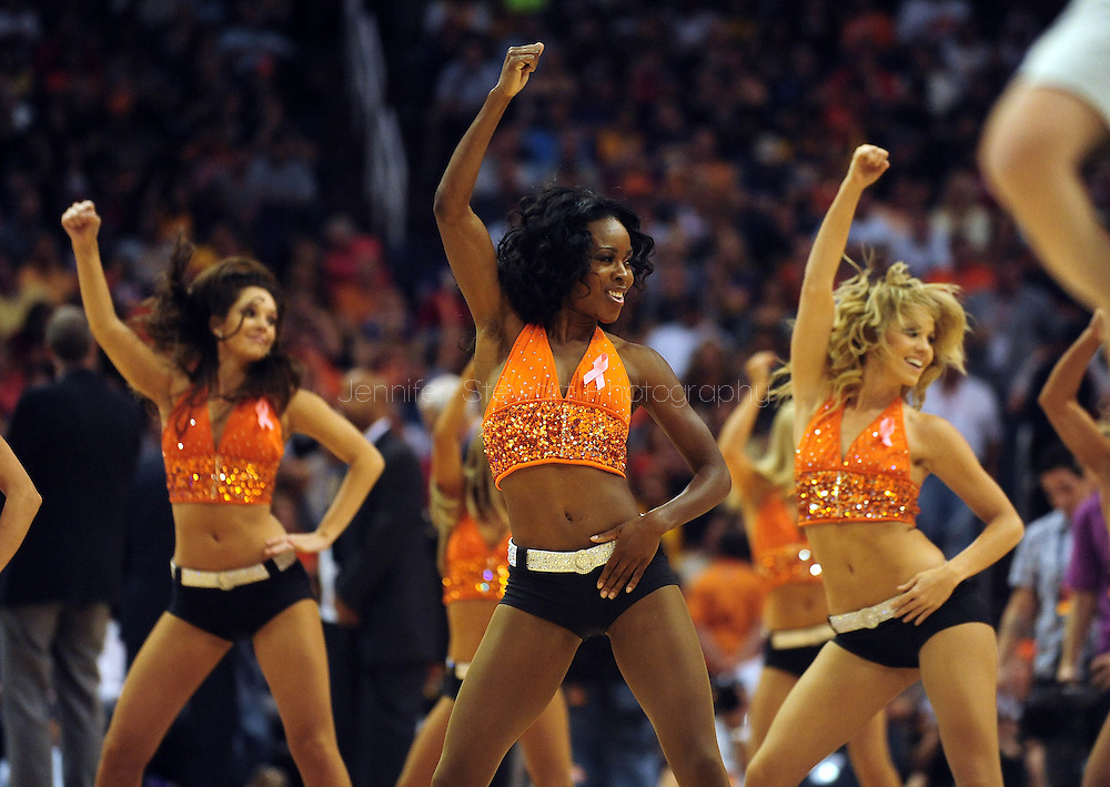 Oct. 29 2010; Phoenix, AZ, USA; Phoenix Suns dancers, dance during at the US Airways Center. Mandatory Credit: Jennifer Stewart-US PRESSWIRE.