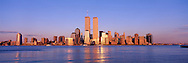 Lower Manhattan Skyline, Golden Twin Towers, World Trade Center, Manhattan, New York, designed by Minoru Yamasaki, International Style II, sunset