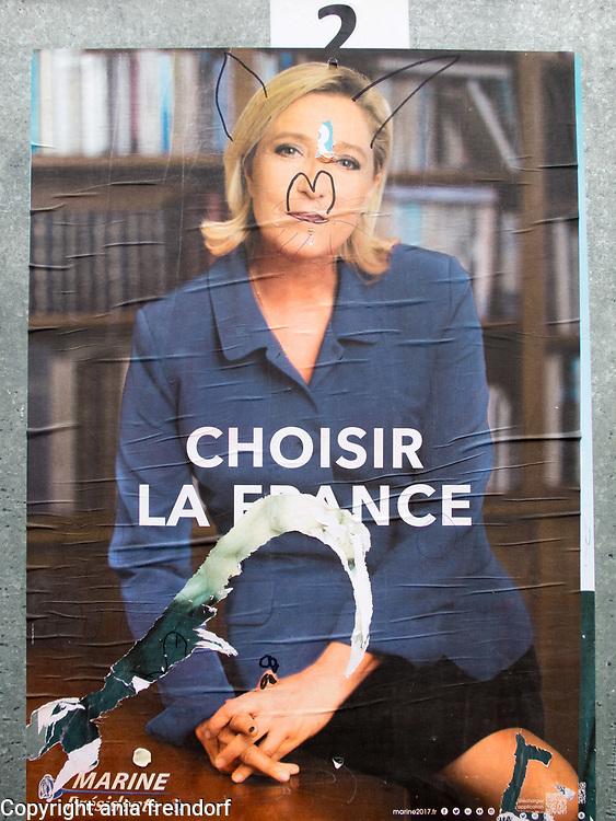 Presidential elections in France, 2017, Emmanuel Macron 65.5% wins French presidential election, defeating Marine le Pen 34.5%, poster of Marine Le Pen
