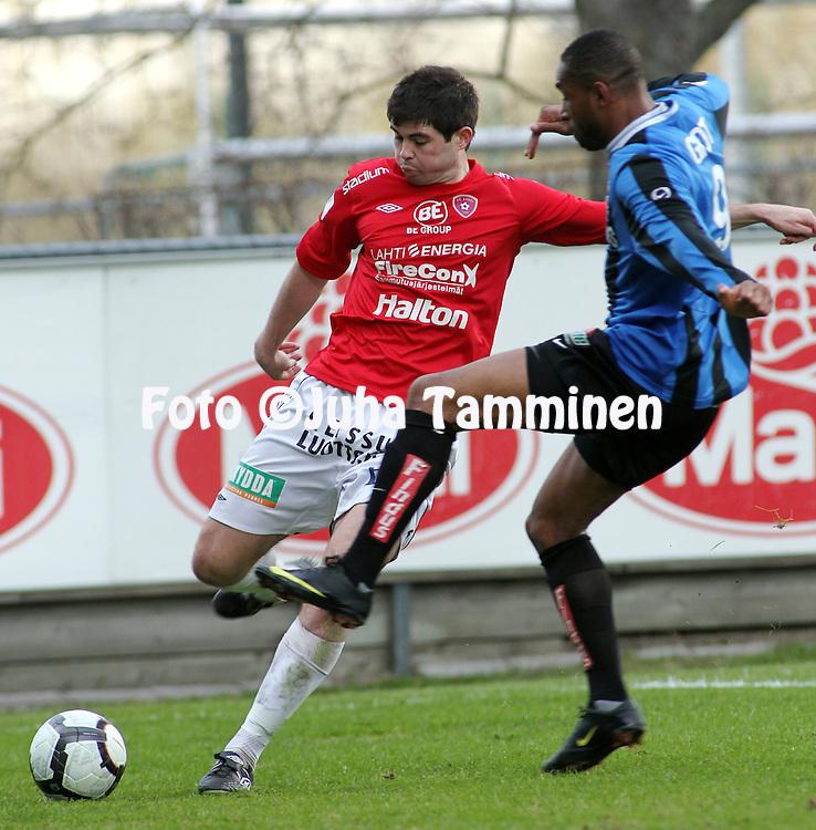 03.05.2010, Kupittaa, Turku..Veikkausliiga 2010, FC Inter Turku - FC Lahti..Tennant McVea (FC Lahti) v Guilliano Grot (Inter).©Juha Tamminen.