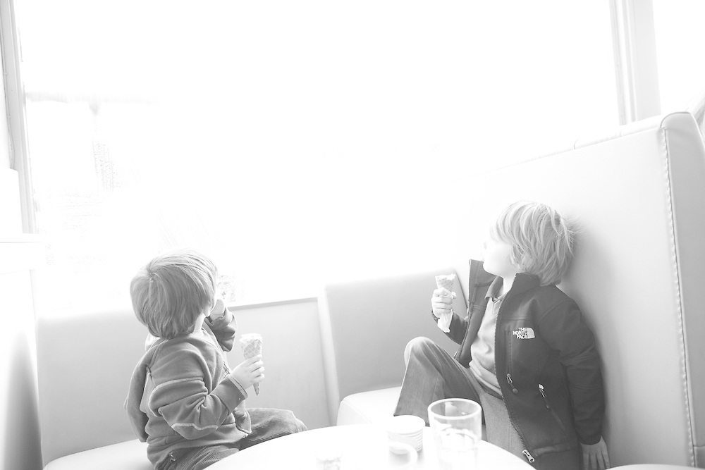 The boys look out the window at the ice cream shop  Tuesday, Feb. 23, 2016 (Elizabeth Dalziel) #thesecretlifeofmothers #bringinguptheboys #dailylife