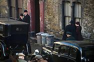 Film set on Iliffe Street in the London borough of Southwark. The film, 'The King's Speech', stars Colin Firth, Geoffrey Rush and Helena Bonham Carter and is directed by Tom Hooper. London, UK.