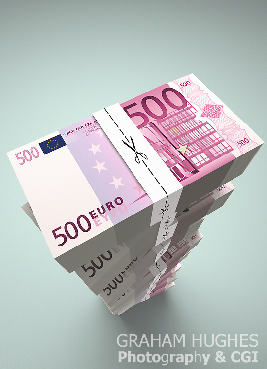 Large stack of EUR500 Euro dollar bills with money ties with scissors cutting along dotted line.