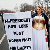 Rachel Davidson Humphries dressed as Columbia for the Women's March on Washington, January 21, 2017