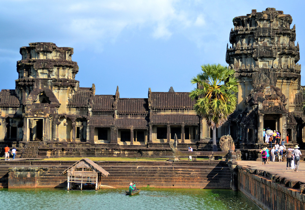Causeway Entrance into Angkor Wat in Angkor Archaeological Park, Cambodia <br />