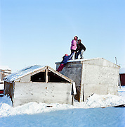 Children in Shismaref, Alaska in March 2010.