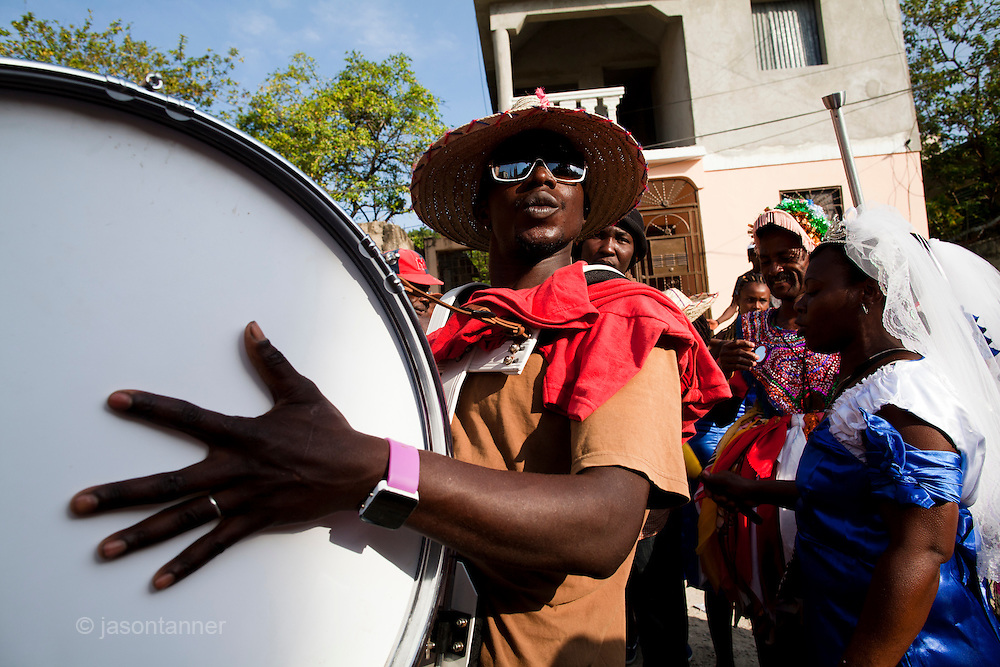 Dominican Republic: Musicians perform in the town of Haina as part of the GaGá  procession of El GaGá de San Luis....