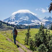 Lenticular (lens-shaped) clouds cap Mount Baker (elevation 10,781 feet) along Skyline Divide trail in Mount Baker Wilderness, Mount Baker-Snoqualmie National Forest, Washington, USA.