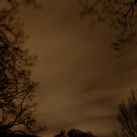 The wind blows the clouds and trees at night.