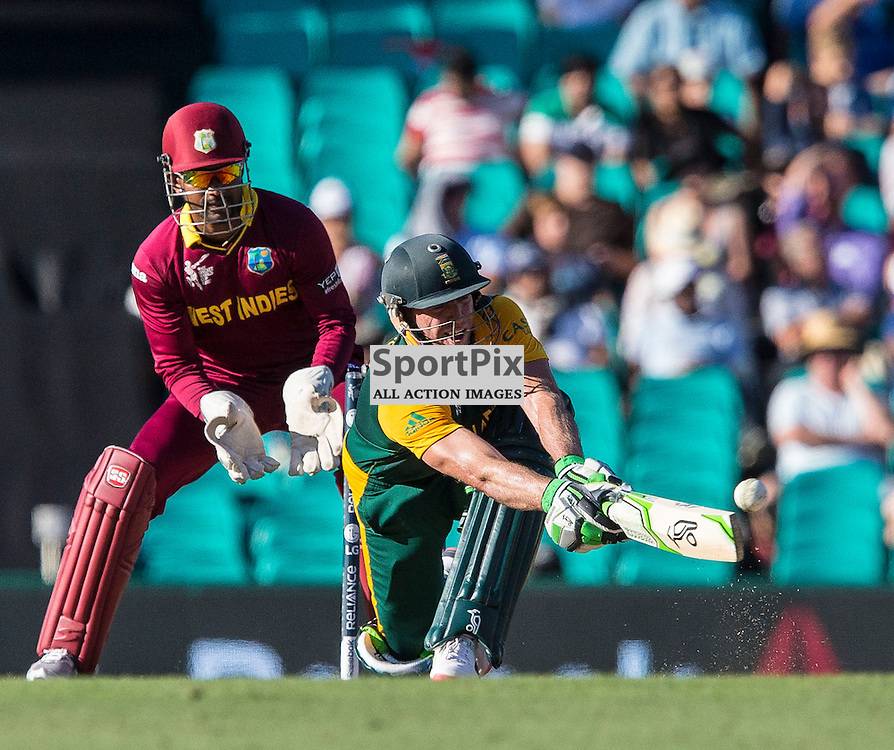 ICC Cricket World Cup 2015 Tournament Match, South Africa v West Indies, Sydney Cricket Ground; 27th February 2015<br /> South Africa&rsquo;s AB De Villiers reaches out for a sweep shot