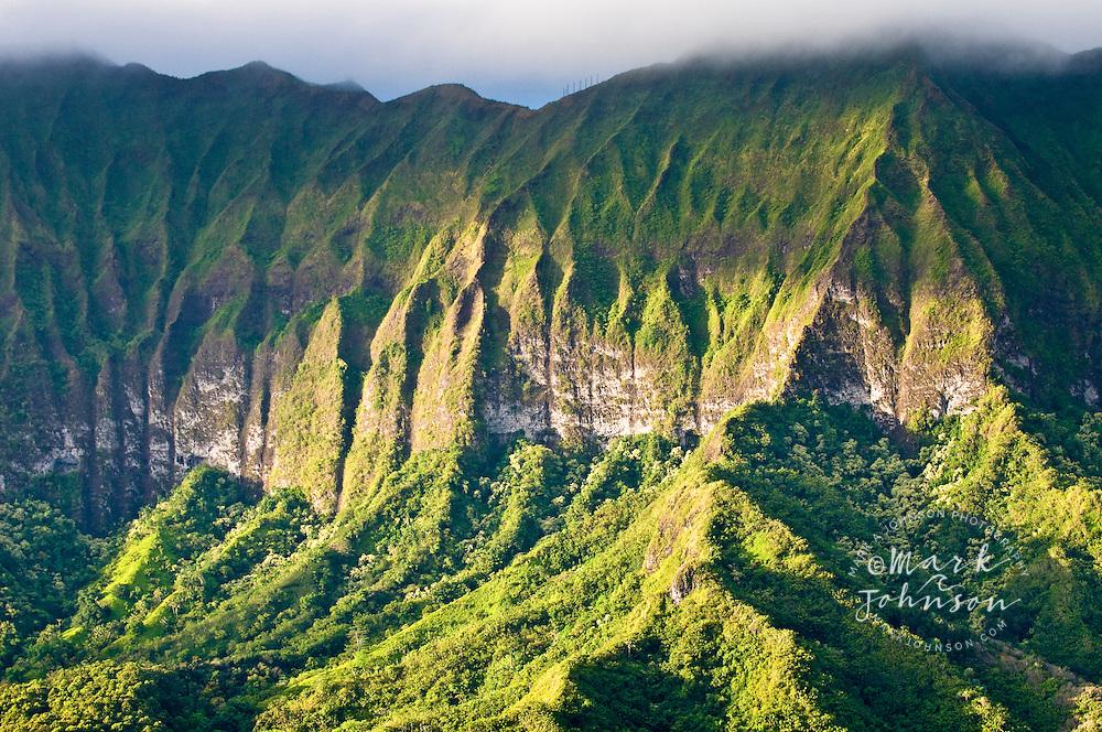 Cliffs of the Koolau Mountains, Windward (East) side of Oahu, Hawaii