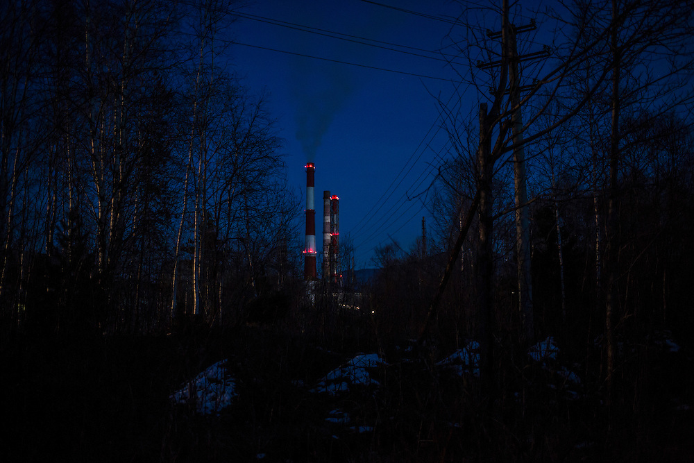 The Baikalsk Pulp and Paper Mill at dusk on Thursday, October 24, 2013 in Baikalsk, Russia.