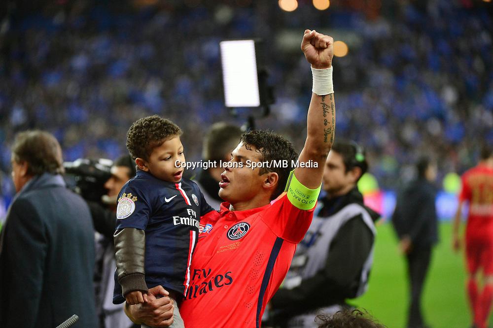 Victoire du PSG / Joie Thiago SILVA  - 11.04.2015 -  Bastia / PSG - Finale de la Coupe de la Ligue 2015<br />Photo : Dave Winter / Icon Sport