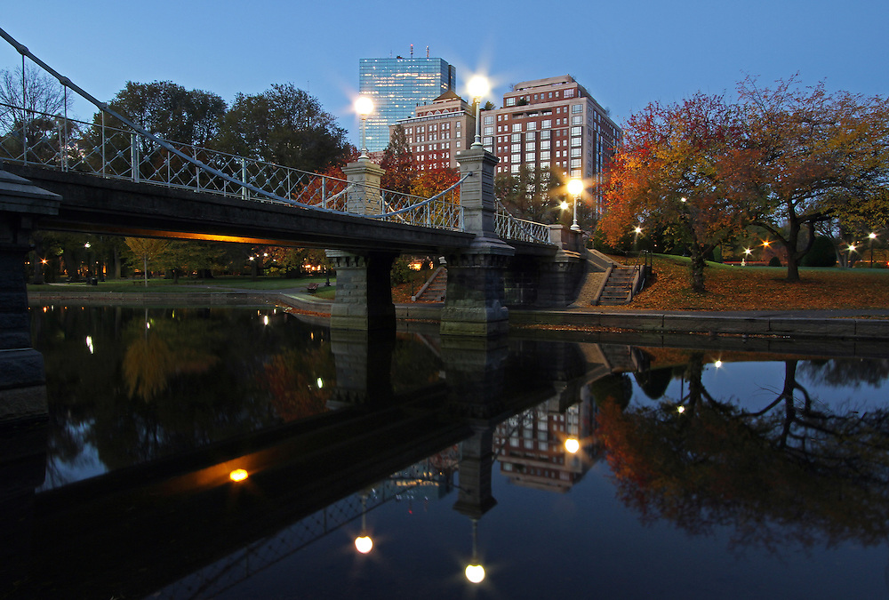 Boston twilight photography of the historic Boston Public Garden Lagoon Bridge photographed on a magical autumn morning in November.<br />