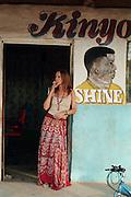German actor Katja Flint in Maralal, Northern Kenya during the filming of The White Massai (Die weisse Massai) directed by Hermine Huntgeburth