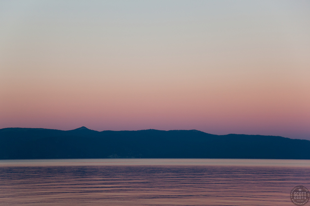 """""""Sunset at Lake Tahoe 4"""" - This peaceful sunset was photographed from the West shore of Lake Tahoe, California."""