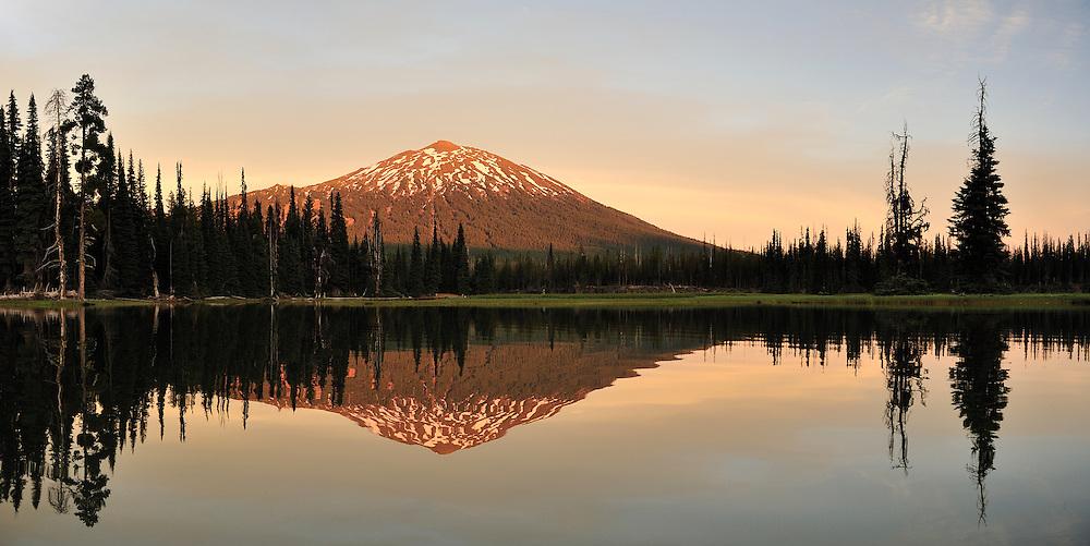 Mount Bachelor and Sparks Lake, at sunset,Cascade Mountains,Central Oregon,Oregon,USA,..