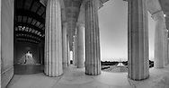 Multi-Row Panorama of Lincoln Memorial looking toward the Washington Monument. <br /> Image Captured in 2012.<br /> Print Size (in inches): 15x7.5; 24x12.5; 36x18.5; 48x25; 60x31; 72x37.5