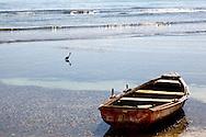 Boat and heron in Cabot Cruz, Granma, Cuba.