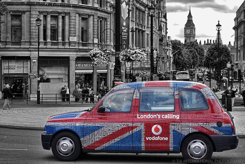 London - Vodafone Taxi Cab in Trafalgar Square