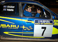 Cody Crocker gives the thumbs up to his crew after leaving service.2003 Rally of Canberra .Canberra, ACT, Australia.Day 2 - 26th of April 2003.(C) Joel Strickland Photographics