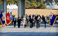 3-11-2014 SEOUL - King Willem-Alexander and Queen Maxima of The Netherlands during an wreath laying ceremony at the Memorial Tower in Seoul, South Korea, 3 November. Korea war veterans mr Kwak, mr Sim and mr Choi join them at the National cemetery. The King and Queen visit South Korea for an official state visit 3 and 4 November. COPYRIGHT ROBIN UTRECHT