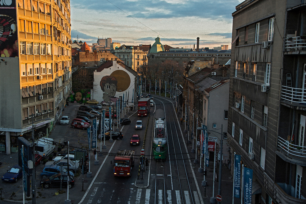 Traffic on Karadjordjeva street.<br /> <br /> Savamala neighborhood of Belgrade, Serbia.