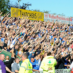 Bristol Rovers fans celebrate  - Mandatory byline: Neil Brookman/JMP - 07966386802 - 15/08/2015 - FOOTBALL - Huish Park -Yeovil,England - Yeovi Town v Bristol Rovers - Sky Bet League One