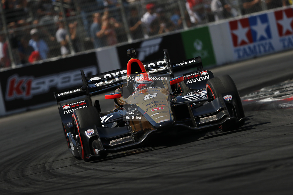 """LONG BEACH, CA - APRIL 9 James Hinchcliffe, driving the No. 5 Arrow Honda, won the 2017 Toyota Grand Prix of Long Beach to collect his fifth career Verizon IndyCar Series win and first in nearly two years. He was a semi-finalist in """"Dancing with the Stars"""" night's season. 2017 April 9.  Byline, credit, TV usage, web usage or linkback must read SILVEXPHOTO.COM. Failure to byline correctly will incur double the agreed fee. Tel: +1 714 504 6870."""