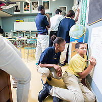 Students working together at the Epiphany School in Dorchester photographed for the school's Annual Report.