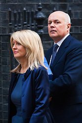 Downing Street, London, January 27th 2015. Ministers attend the weekly cabinet meeting at Downing Street. PICTURED: Esthyer Mc Vey and Iain Dincan-Smith leave together after the cabinet meeting.
