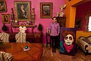 Performance artist Artierra Entonada in Nuevo Laredo. (painting of Arturro by Felipe Flores Montemayor, the pictures were taken in his house).<br /> <br /> Nuevo Laredo, Tamaulipas, Mexico.<br /> <br /> This picture is part of my long-term project<br /> LA FRONTERA: Artists along the US Mexican Border.<br /> &copy; Stefan Falke / www.stefanfalke.com