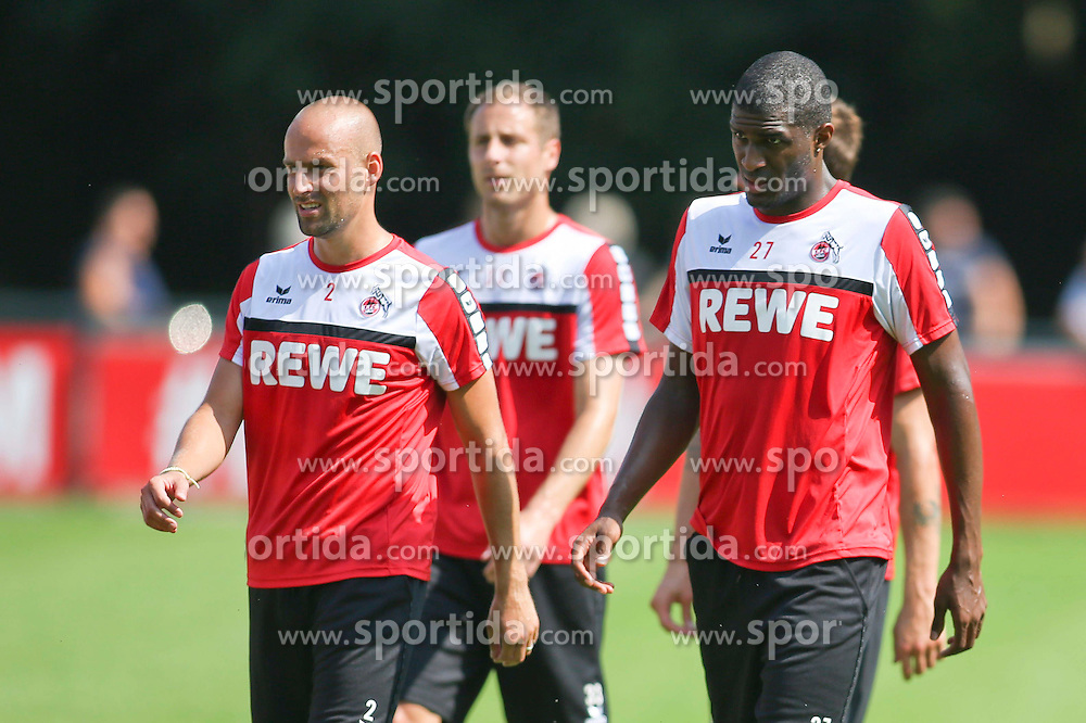 16.07.2015, Geissbockheim, Koeln, GER, 1. FBL, 1. FC Koeln, Training, im Bild Kapitaen Miso Brecko (1. FC Koeln #2), Matthias Lehmann (1. FC Koeln #33) und Neuzugang Anthony Modeste (1. FC Koeln #27) // during a practice session of German Bundesliga Club 1. FC Cologne at the Geissbockheim in Koeln, Germany on 2015/07/16. EXPA Pictures &copy; 2015, PhotoCredit: EXPA/ Eibner-Pressefoto/ Schueler<br /> <br /> *****ATTENTION - OUT of GER*****